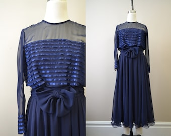 1970s Miss Elliette Navy Chiffon Dress