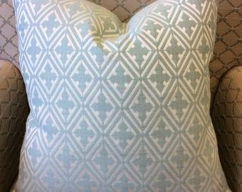 Light Blue Geometric Diamond Pattern Pillow Cover w/ Zipper, Blue Diamond Pillow, Blue Geometric Pillow, Blue and White Pillow, 18x18