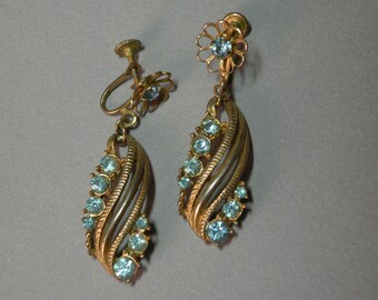 Vintage Aqua Dangle Earrings