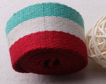 1 yards x 38mm Colored Stripes Cotton Polyester Webbing for Large Bag,Great for Purses,Tote Straps, Bags, Totes, Belts,5yards