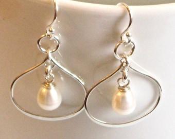 Sterling Silver Teardrop Earrings - Pearl Earrings, Petal Earrings, Hoop Earrings, Wedding Jewelry