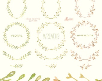 Floral Wreaths. 12 Watercolor digital Clipart. Handpainted, laurel wreath, flowers, wedding, invitations, greetings, branch, doodle frames