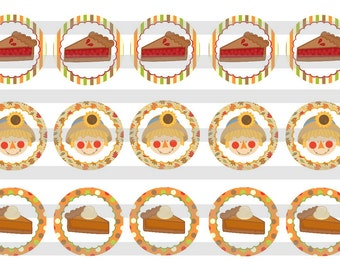 "Thanksgiving Day Pies INSTANT DOWNLOAD Bottle Cap Images 4x6 sheet 1"" circles"