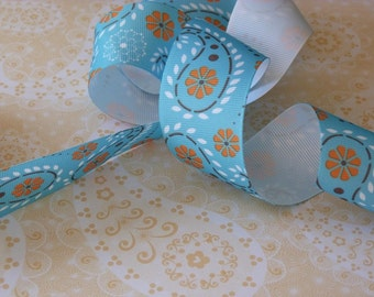"Beautiful Aqua Blue Paisley Print Grosgrain Ribbon in 1.5"" or 1 1/2-inch Width 1 Yard"
