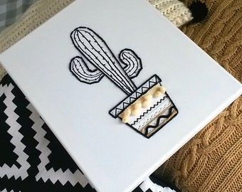 Embroidered cactus painting