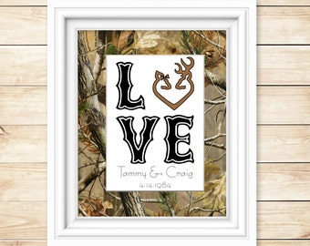 Hunting Wedding Decor - Hunting Decor for the Home - Camo Shower Gift - Camo Love - Camo Wedding Gift - Rustic Hunting Decor - Buck & Doe