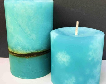 Teal, Aqua and Brown Layered Pillar Candle set of two