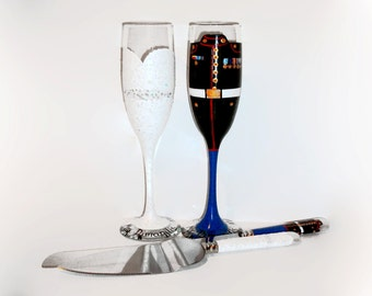 Marine Bride and Groom Wedding Dress  Hand Painted Champagne Flutes , Army, Navy, Airforce Toasting Flutes & Cake Knife and Server Set