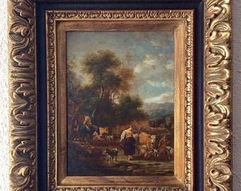 Sale Antique Style Italian Flemish Oil Painting European Pastoral Landscape & Figures Scene Oil/Wood Panel Art Framed