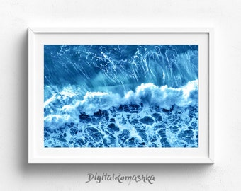 ocean print, ocean waves print, ocean photography, ocean wall art, printable art, beach decor, waves print,  ocean art, instant download