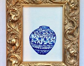 "Ginger Jar IV Painting 5 x 7 """