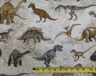 Stonehenge Dinosaurs Prehistoric Dinos T-Rex in Jungle BY YARDS Northcott Fabric