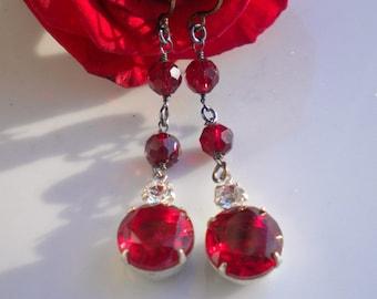 Ruby Red Vintage Rhinestone Earrings w Clear & Garnet Swarovski Crystals