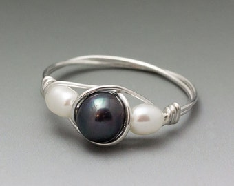 Black & White Pearl Sterling Silver Wire Wrapped Gemstone Bead Ring - Made to Order, Ships Fast!
