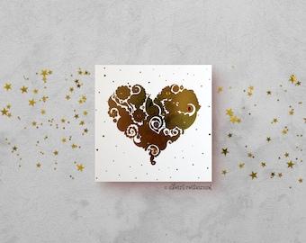 Gold Love Heart Card - Gold Foil Card - Love Card - All Occasions Card - Blank Card - Card for Girlfriend - Card for Boyfriend