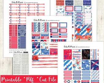 Stars and Stripes Printable Planner Stickers/Weekly Kit/For Use with Erin Condren/Cutfiles  Fourth of July Patriotic Glam Red White Blue