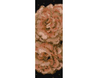 Peach Flowers Peyote Bead Pattern, Bracelet Pattern, Bookmark Pattern, Seed Beading Pattern Delica Size 11 Beads - PDF Instant Download