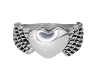 Ladies Winged Heart Ring Stainless Steel Motorcycle Jewelry