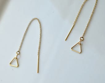 Triangle threader earrings, dainty gold filled threader earrings, threader pendant earrings, dainty triangle threader earrings