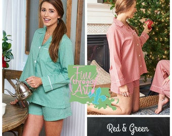 PREORDER Red or Green Gingham Ladies Pajama Short Set Button Down Lounge Shirt with Shorts Monogram Gift for Bride Mom Bridesmaids Christmas