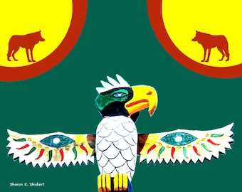 Native American Totem Pole Art, Southwestern Tribal Design, Wolf Silhouettes, Red Green Yellow, Wall Hanging, Bird Home Decor, Giclee Print