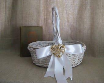 Cottage Chic Basket with Vintage Avon Heart for Wedding, Reception Decor / White Basket for Favors or Programs w/ Keepsake Heart Brooch