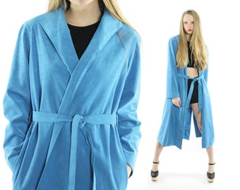 Vintage 70s Trench Coat Blue Ultra Suede Wrap Jacket Long Spring Coat 1970s Womens Outerwear Medium Large M L