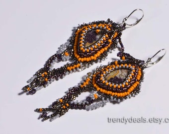 seed bead earrings dangle earrings boho earrings agate stone earrings gemstone jewelry long earrings beaded earrings
