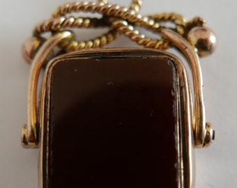 Antique William Hair Haseler Birmingham 1905 9ct Gold Cornelian and Bloodstone Swivel Watch Fob - 36mm x 26mm.
