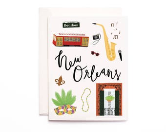 New Orleans Card, Illustrated New Orleans Greeting Card, New Orleans Gift