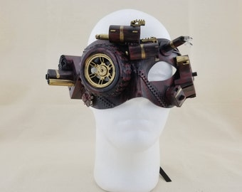 Steampunk Mask With Flashing LED Lights, Copper, Camouflage Steampunk Mask, New Years Mask, Halloween Mask, Masquerade Mask, cosplay mask