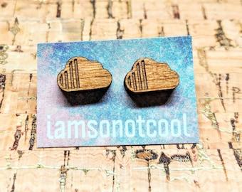 Wood Cloud Earrings - Wood Stud Earrings, Laser-Cut Wooden Cloud Studs, Walnut Wood Earrings, Hypoallergenic, Nickel-Free