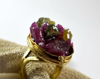 Rough Ruby Ring, Raw Ruby Ring, Rough Sapphire Ring, Raw Sapphire Ring, Gemstone Ring, Semi Precious Ring, Brass Ring, OOAK Ring, 251