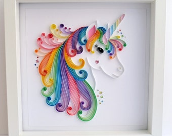 Large Unicorn quilling wall art, Unicorn picture, Paper art, Quilling art, Girls room decor, Framed artwork, Nursery decor, Gift for her