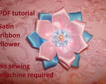 Fabric flower PDF tutorial , Satin ribbon flower tutorial Nr.3 No sewing machine required