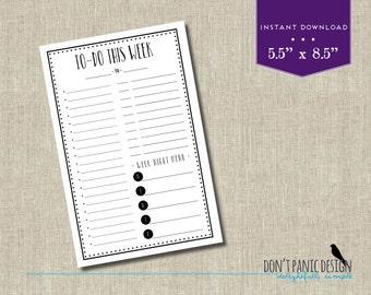Fun Black Printable Weekly Planner Half Page - Weekly Planner Sheet - Meny Planner - Grocery List Planner - Task Planner