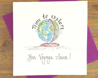Personalised Travel card - Time to Explore- World Trip - Off on an Adventure - Bon Voyage Card- Good Luck- Miss you