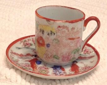 Vintage Japanese Geisha Girl teacup and Saucer