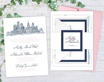 Philadelphia Wedding Invitations - DEPOSIT TO START Philly Suite - Hand Drawn Wedding Invitations -Wedding Invitations -Custom Invitations