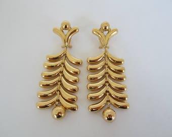 18k Yellow Gold Earrings, Dangle Lever Back Earrings, Long Earrings