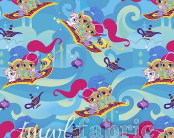 Woven Fabric - Nickelodeon Shimmer & Shine Friends - Fat Quarter Yard +