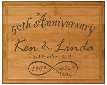 "Anniversary wall plaque - Love You To Infinity - Rustic style - 8"" x 10"" bamboo - wall plaque"