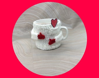 Coffee cup sweater,Mom, Cup sweater, Valentine's Day,sweetheart gift,conversation piece,white mug sweater,office gift, mug-cozy, centerpiece