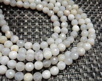 White Faceted Agate Rounded Beads - White Agate - 8mm Beads - 1 STRAND - (S106B11-05)