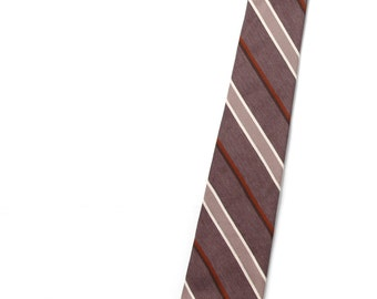 Vintage Necktie / Mens Tie / Brown Stiped Count Dino Necktie / Skinny Brown Tie / Mens Neckties Ties / Vintage Tie Polyester  Gifts for Guys