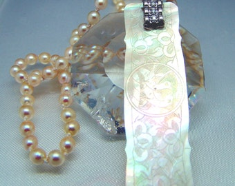 14k White Gold Diamond Antique Chinese Game Counter Carved Mother of Pearl Akoya Pearl Necklace