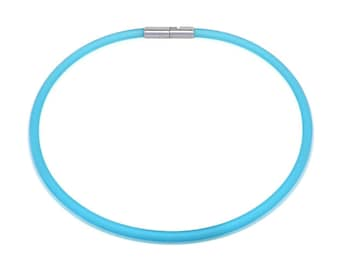Blue Rubber Necklace 5mm Rubber 6mm Clasp