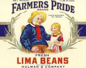 Farmer's Pride Lima Beans Vintage Tin Can Label Hulman & Co. Terre Haute and Evansville, Indiana