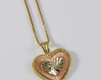 Vintage 14K Yellow and Rose Gold Heart Necklace