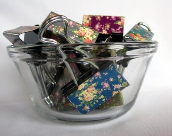 "Binder Clips - ""Hidden Garden"" 12 medium binder clips"